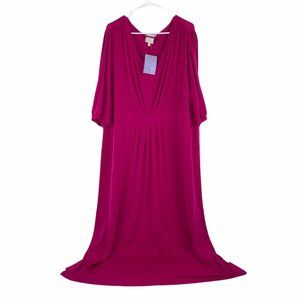 Hot In Hollywood 3X Berry VNeck Split Sleeve Dress